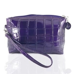 Purple Croc Makeup Bag
